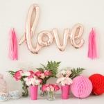 ลูกโป่งฟลอย์ข้อความ LOVE Balloon สีทองโอรส ไซส์ 75 X 55 cm./ Item No.TL-E063