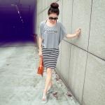 เดรสแฟชั่นเกาหลีสายเดี่ยว + เสื้อทรงค้างความตัวนอกพิมพ์ลายสีเทา (ได้2ชิ้น)