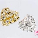 ตัวแต่งจี้ลูกปัด ตกแต่งสร้อยหินนำโชค สีทอง สีขาว 22x23มิล(2ชิ้น)