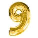 """ลูกโป่งฟอยล์รูปตัวเลข 9 สีทอง ไซส์เล็ก 14 นิ้ว - Number 9 Shape Foil Balloon Size 14"""" Gold Color"""