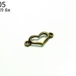 จี้ทองเหลืองรูปหัวใจ ขนาด 20 มิล ยาว 9 มิล ราคา 10 บาท