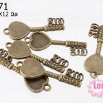 จี้กุญแจหัวใจทึบ ทองเหลือง ขนาด 38x12 mm.