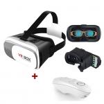 แว่น VR BOX สีขาว ราคาถูก + รีโมท vr สีขาว เปลี่ยนโทรศัทพ์เดิมๆของคุณให้กลายเป็น iMAX Theatre ชมภาพยนต์สามมิติบนโทรศัพท์ มันส์สะใจเต็มสองตา ด้วยแว่นตาสามมิติสำหรับสมาร์ทโฟน ดูหนัง เล่นเกมส์ อลังการเต็มตา