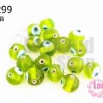 ลูกปัดแก้ว ลูกตา สีเขียวขี้ม้า 10 มิล (1ขีด/98ชิ้น)