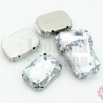 เพชรแต่ง สี่เหลี่ยมสีขาว ฐานสีโรเดียม ไม่มีรู 18X25มิล(5ชิ้น)
