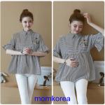 K114221 เสื้อคลุมท้องแฟชั่นเกาหลี โทนสีดำสลับ
