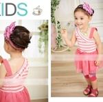 เสื้อผ้าเด็ก ชุดเดรสเด็กผู้หญิง สายแฟชั่นน่ารัก สีชมพู