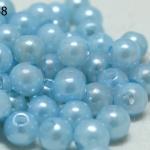 ลูกปัดมุก พลาสติก สีฟ้าอ่อน 5มิล (1ขีด/100กรัม)