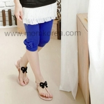 PK011 กางเกงเลกกิ้งคนท้อง แฟชั่นเกาหลี สีน้ำเงิน เนื้อผ้านิ่ม สวมใส่สบาย เอวสามารถเลื่อนได้ตามอายุครรภ์