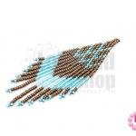 ตัวแต่งลูกปัดมิยูกิ สีน้ำตาล-สีฟ้าสอดไส้ 3X9.5 ซม. (1ชิ้น)