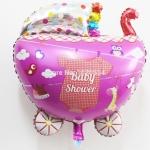 บอลลูนฟลอย์ รถเข็นเด็ก สีชมพู - Baby Pink Cart Foil Balloons / Item No. TL-C009