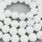 คริสตัลจีน ทรงกลมเจียร สีขาวขุ่น 10มิล(1เส้น)