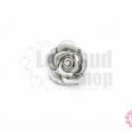กระดุมโลหะ ดอกกุหลาบ สีเงิน 18มิล(1ชิ้น)