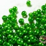 ลูกปัดมุก พลาสติก สีเขียว 4 มิล 1 ขีด (3,553ชิ้น)