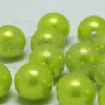 ลูกปัดมุก พลาสติก สีเขียวมะนาว 8 มิล 1 ขีด (206ชิ้น)
