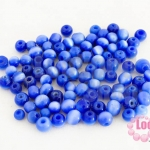ลูกปัดแก้ว ตาแมว สีน้ำเงินเข้ม 6มิล (1ขีด/469ชิ้น)