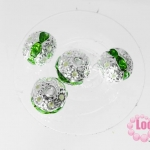ตัวแต่งสร้อยหินนำโชคบอลเพชร แถวเดียวสีเงิน เพชร สีเขียว 8 มิล