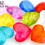 ลูกปัดพลาสติก สีใส หัวใจ คละสี 17X19มิล(1ขีด/70เม็ด)