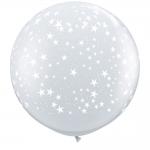 """ลูกโป่งกลมจัมโบ้ไซส์ใหญ่ 36"""" Latex Balloon RB clear -Print Star สีใสพิมพ์ลายดาว / Item No. TQ-29264 แบรนด์ Qualatex"""