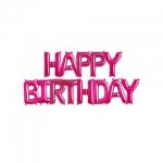 ลูกโป่งฟลอย์ข้อความ Happy Birthday สีชมพู ติดกำแพง / Item No.TL-H009