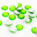 เพชรแต่ง กลม สีเขียวสะท้อนแสง มีรู 10มิล(20ชิ้น)