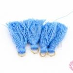 พู่สั้น สีฟ้า ห่วงสีทอง 3ซม (4ชิ้น)