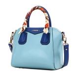 กระเป๋าแฟชั่นเกาหลี แบรนด์ Axixi หนัง PU เงา สีฟ้าสดใส