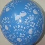 """ลูกโป่งกลมพิมพ์ลาย Happy Birth Day คละสี แบบที่ 3 ไซส์ 12 นิ้ว จำนวน 10 ใบ (Round Balloons 12"""" - Happy Birth Day Design no. 3 latex balloons)"""