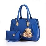 กระเป๋าแฟชั่นเกาหลี หนังแก้วปั้มลายนูนในตัว สีน้ำเงินสด