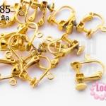ต่างหูหนีบเกรียวหมุน สีทอง 16X15 มิล(5คู่)