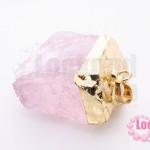 หินโรสควอตซ์ จี้ครอบทอง 31X48มิล (1ชิ้น)