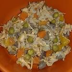 อาหารกระป๋องเปลือยขนาด 170 กรัม รสไก่ฉีกผสมผักในซุบ แพค 12-48 กป.