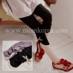 PK006 กางเกงเลคกิ้งคนท้อง สีเทา ขาสี่ส่วนปลายขาจะแต่งด้วยลูกไม้ ติดโบว์สก็อตสีน้ำตาล เนื้อผ้านิ่มมากๆ ช่วงเอวสามารถปรับระดับได้ค่ะ