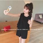 ชุดแฟชั่นเกาหลี เสื้อ+กางเกง ทรงสวยตามภาพ สีดำ