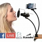 Live สด เสียงใสกิ๊ก ขาตั้งไมโครโพนไมค์อัดเสียง พร้อมแผ่นกรองเสียง Stereo Condenser Recording Desktop Microphone (Black)