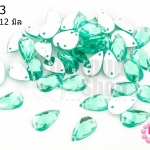 เพชรแต่ง หยดน้ำ สีเขียว มีรู 7X12มิล(20ชิ้น)