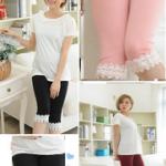 PK103 กางเกงเลกกิ้งคนท้อง มี 3 สีให้เลือก ปลายขาแต่งด้วยลูกไม้นิ้มค่ะ ใส่สบายค่ะ เอวสามารถเลื่อนได้ตามอายุครรภ์