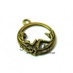 จี้ทองเหลืองรูปวงกลมนางเงือก ขนาด 11 มิล ยาว 19 มิล