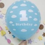 """ลูกโป่งกลมพิมพ์ลาย 1st Birthday สีฟ้าอ่อน แพ็คละ 10 ใบ(Round Balloons 12"""" - Printing 1st Birthday Light Blue color)"""