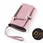 *พร้อมส่ง*กระเป๋าเงินใบยาว MUSE สีชมพู Pastel งานหนังแท้
