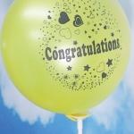 """ลูกโป่งกลมพิมพ์ลาย Congratulations ไซส์ 12 นิ้ว แพ็คละ 10 ใบ สีเหลือง (Round Balloons 12"""" - Printing Congratulations latex balloons Yellow color)"""