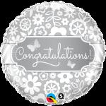 ลูกโป่งฟอลย์ทรงกลมแสดงความยินดี RND CONGRATULATIONS BURRERFILES/ Item No.TQ-17074 แบรนด์ Qualatex