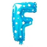 """ลูกโป่งฟอยล์รูปตัวอักษร F สีฟ้าพิมพ์ลายดาว ไซส์เล็ก 14 นิ้ว - F Letter Shape Foil Balloon Size 14"""" Blue color printing Star"""