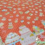 ผ้าคอตตอนลินินญี่ปุ่น ลาย เค้ก ปาร์ตี้ สีชมพู เนื้อดีลายน่ารักมากค่ะ - ลายใหญ่ค่ะ