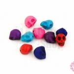 หินแฟนซี หัวกระโหลก คละสี 8x10มิล(10ชิ้น)