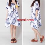 K16010 ชุดคลุมท้องแฟชั่นเกาหลี ผ้าป่านพิมพ์ลายดอกไม้ มี 2 สีให้เลือก มีกระเป๋าเสื้อด้านข้าง
