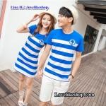 เสื้อคู่รักชายเสื้อยืดคอกลม + หญิงเดรส คอกลม สีฟ้าขาว แต่งลายสมอที่หน้าอก +พร้อมส่ง+