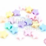 ลูกปัดพลาสติก สีพาลเทล ดาว คละสี 10มิล(1ขีด)