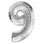 """ลูกโป่งฟอยล์รูปตัวเลข 9 สีเงิน ไซส์เล็ก 14 นิ้ว - Number 9 Shape Foil Balloon Size 14"""" Silver Color"""
