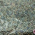 ลูกปัดจีน ปล้องสั้น สีสนิมเหลือบรุ้ง 2X2มิล(1ถุง)